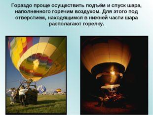 Гораздо проще осуществить подъём и спуск шара, наполненного горячим воздухом.