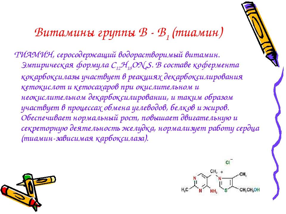 Витамины группы В - В1 (тиамин) ТИАМИН, серосодержащий водорастворимый витами...