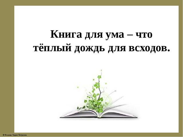 Книга для ума – что тёплый дождь для всходов. © Фокина Лидия Петровна