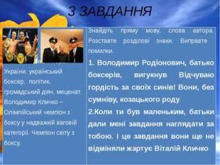 3 ЗАВДАННЯ Віталій Кличко − Герой України, український боксер, політик, грома