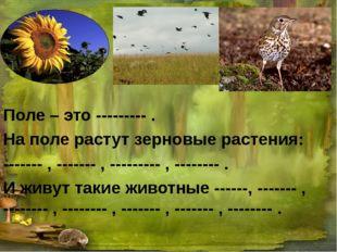Поле – это --------- . На поле растут зерновые растения: ------- , ------- ,