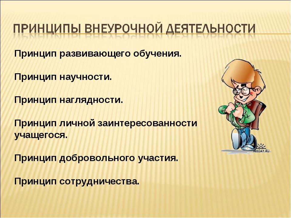 Принцип развивающего обучения.  Принцип научности.  Принцип наглядности. ...
