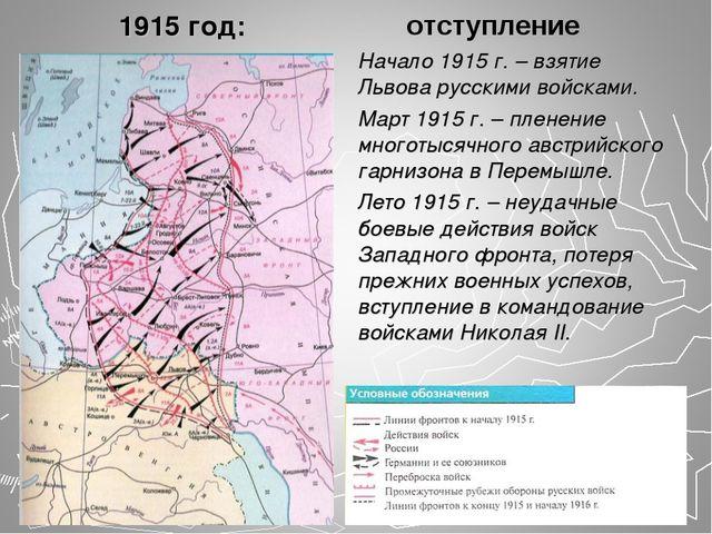1915 год: Начало 1915 г. – взятие Львова русскими войсками. Март 1915 г. – пл...
