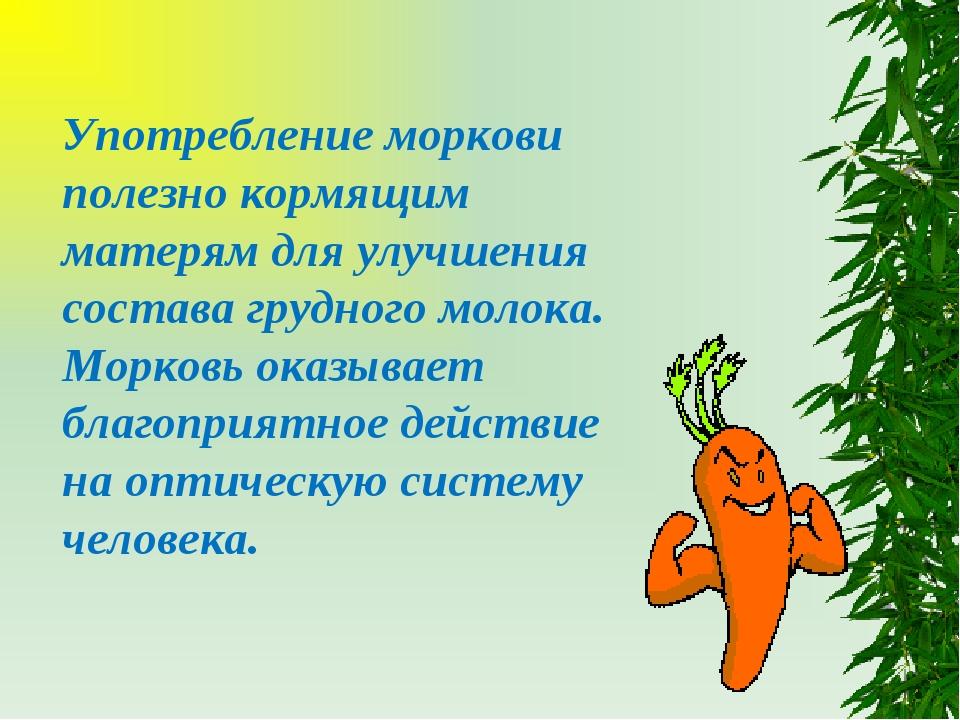 Употребление моркови полезно кормящим матерям для улучшения состава грудного...