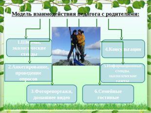 1.Ширмы, экологические стенды 2.Анкетирование, проведение опросов 4.Консульта