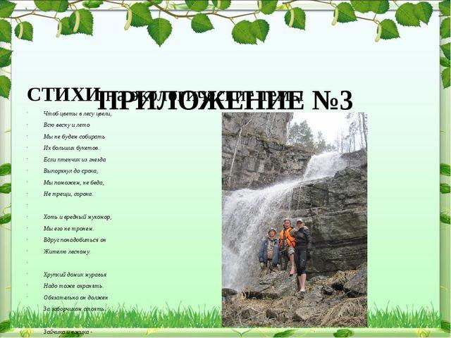 ПРИЛОЖЕНИЕ №3 СТИХИ на экологические темы Чтоб цветы в лесу цвели, Всю весну...