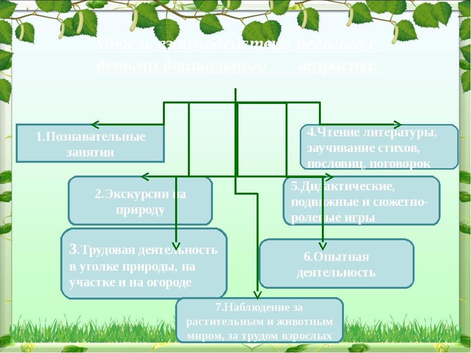 Модель взаимодействия педагога с детьми дошкольного возраста: 1.Познавательны...