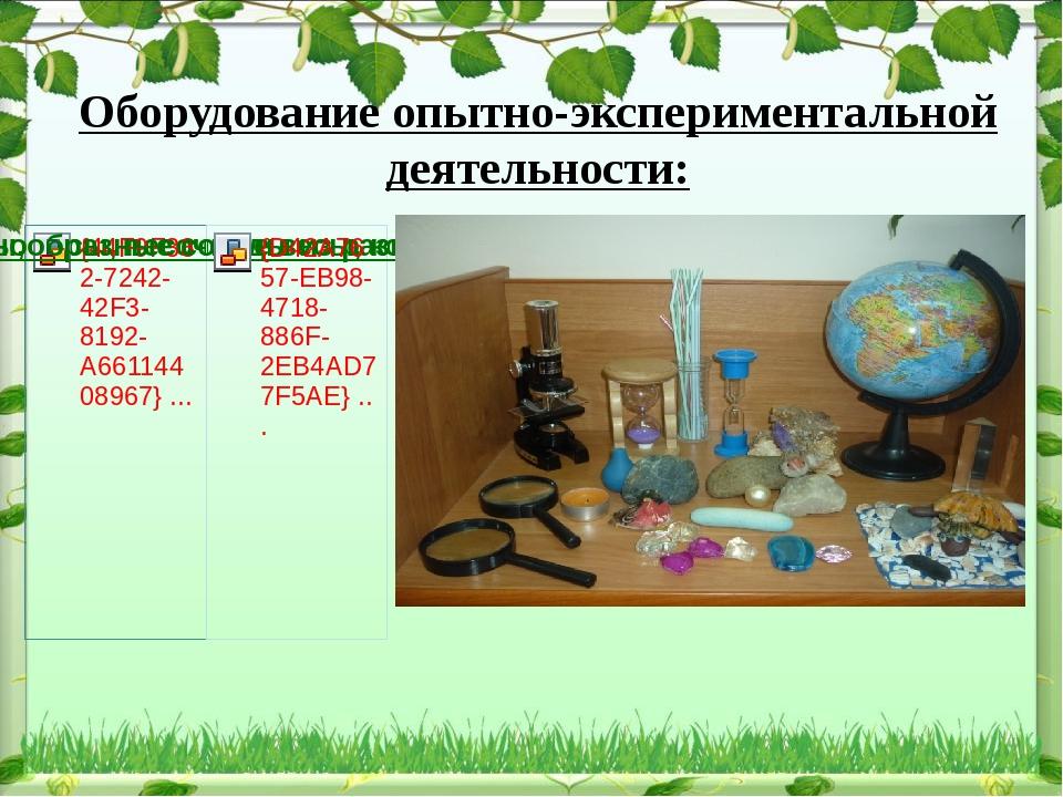 Оборудование опытно-экспериментальной деятельности: