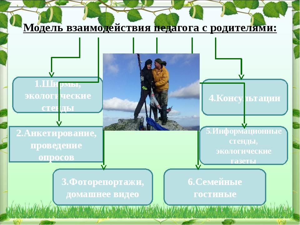 1.Ширмы, экологические стенды 2.Анкетирование, проведение опросов 4.Консульта...