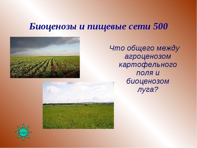 Биоценозы и пищевые сети 500 Что общего между агроценозом картофельного поля...
