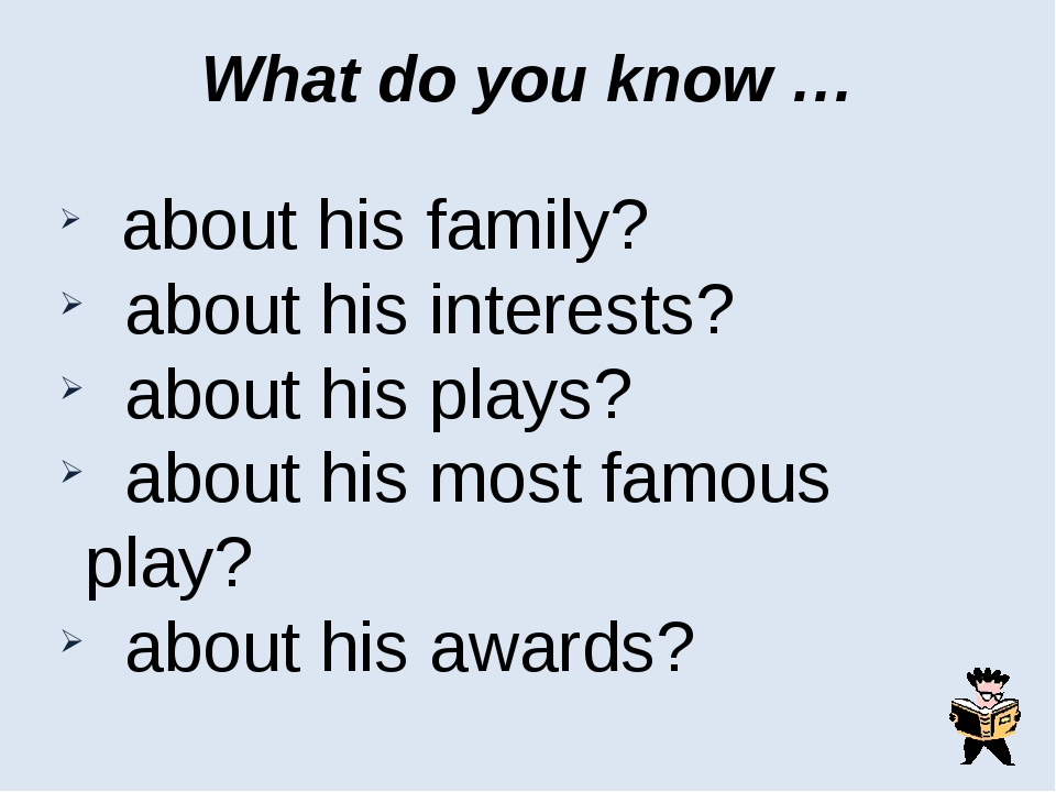What do you know … about his family? about his interests? about his plays? ab...