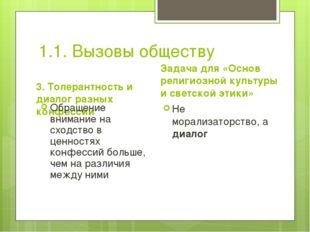 1.1. Вызовы обществу 3. Толерантность и диалог разных конфессий Обращение вни