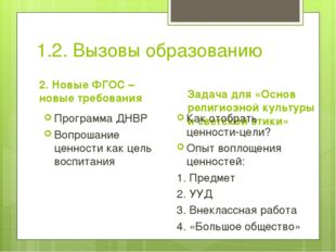 1.2. Вызовы образованию 2. Новые ФГОС – новые требования Программа ДНВР Вопро