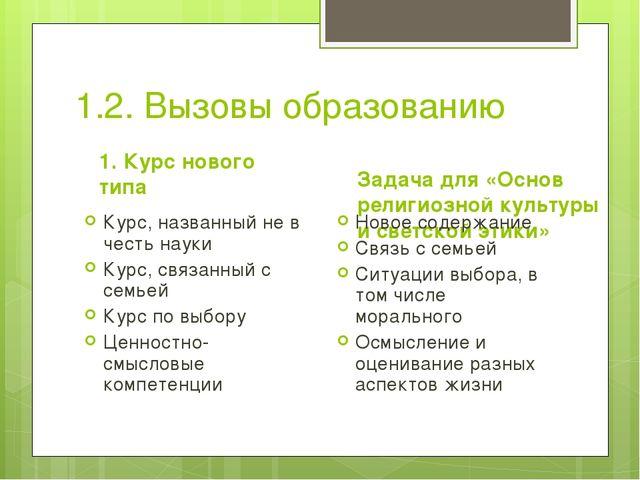 1.2. Вызовы образованию 1. Курс нового типа Курс, названный не в честь науки...