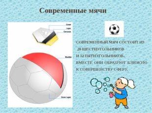 Современные мячи СОВРЕМЕННЫЙ МЯЧ СОСТОИТ ИЗ 20 ШЕСТИУГОЛЬНИКОВ И 12 ПЯТИУГОЛЬ