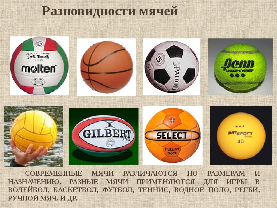 Разновидности мячей СОВРЕМЕННЫЕ МЯЧИ РАЗЛИЧАЮТСЯ ПО РАЗМЕРАМ И НАЗНАЧЕНИЮ. РА...