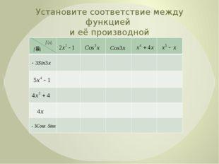 Установите соответствие между функцией и её производной В математике есть сво