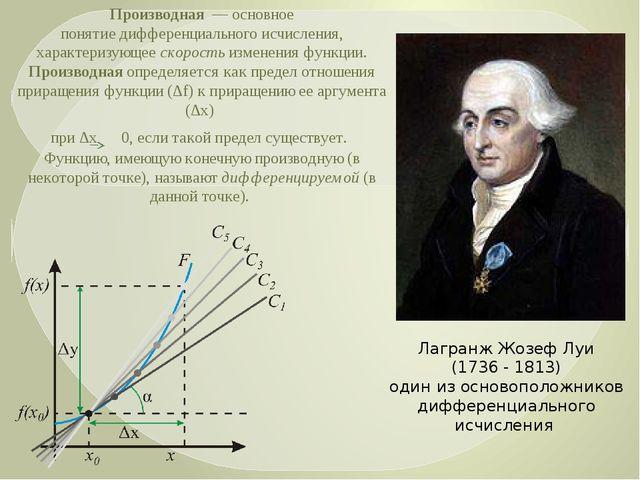 Производная— основное понятиедифференциального исчисления, характеризующее...