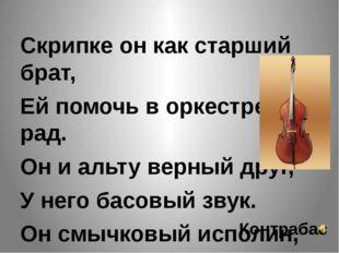 Скрипке он как старший брат, Ей помочь в оркестре рад. Он и альту верный дру