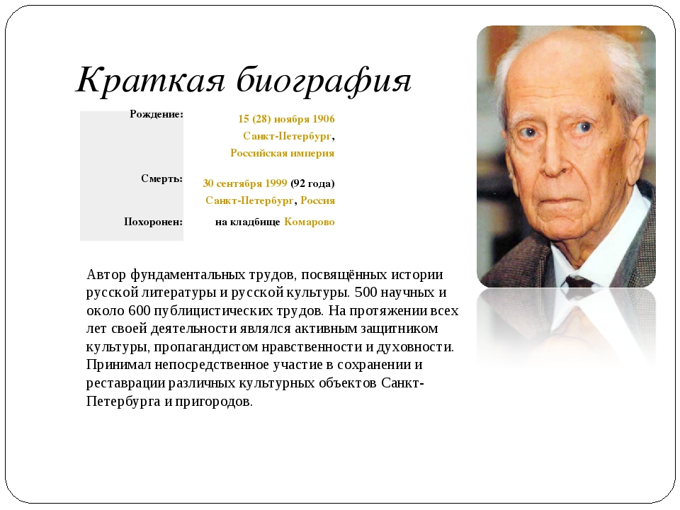 Краткая биография Автор фундаментальных трудов, посвящённых истории русской л...