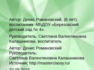 Автор: Денис Романовский, (6 лет), воспитанник МБДОУ «Березовский детский с