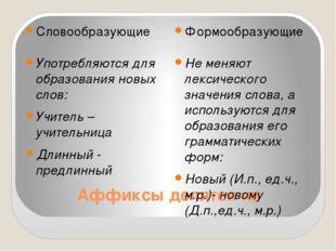 Аффиксы делятся на Словообразующие Формообразующие Употребляются для образова