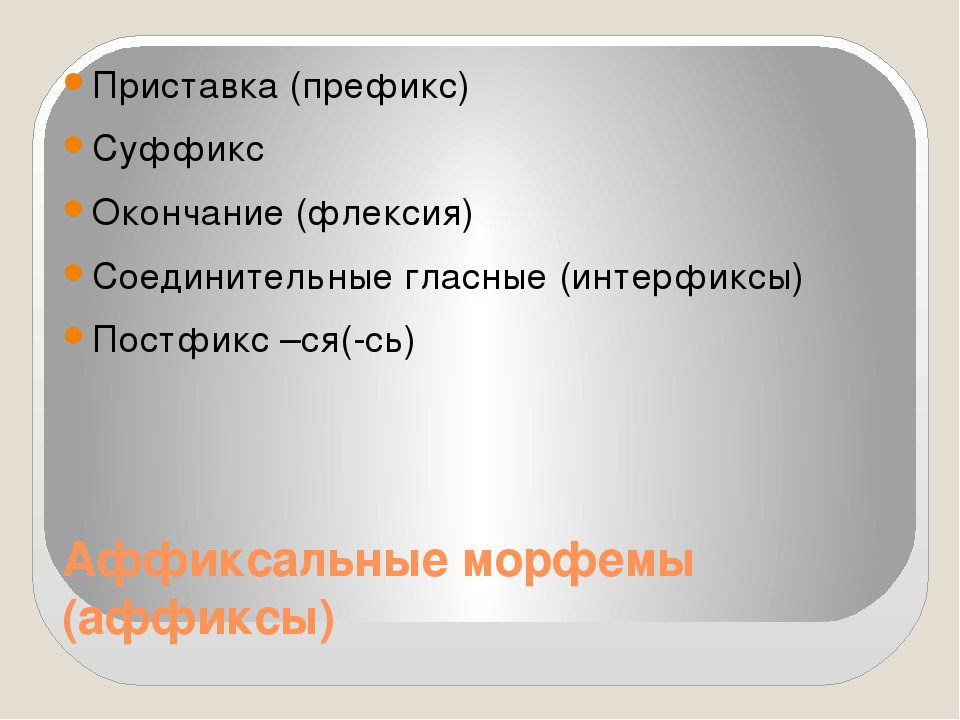 Аффиксальные морфемы (аффиксы) Приставка (префикс) Суффикс Окончание (флексия...
