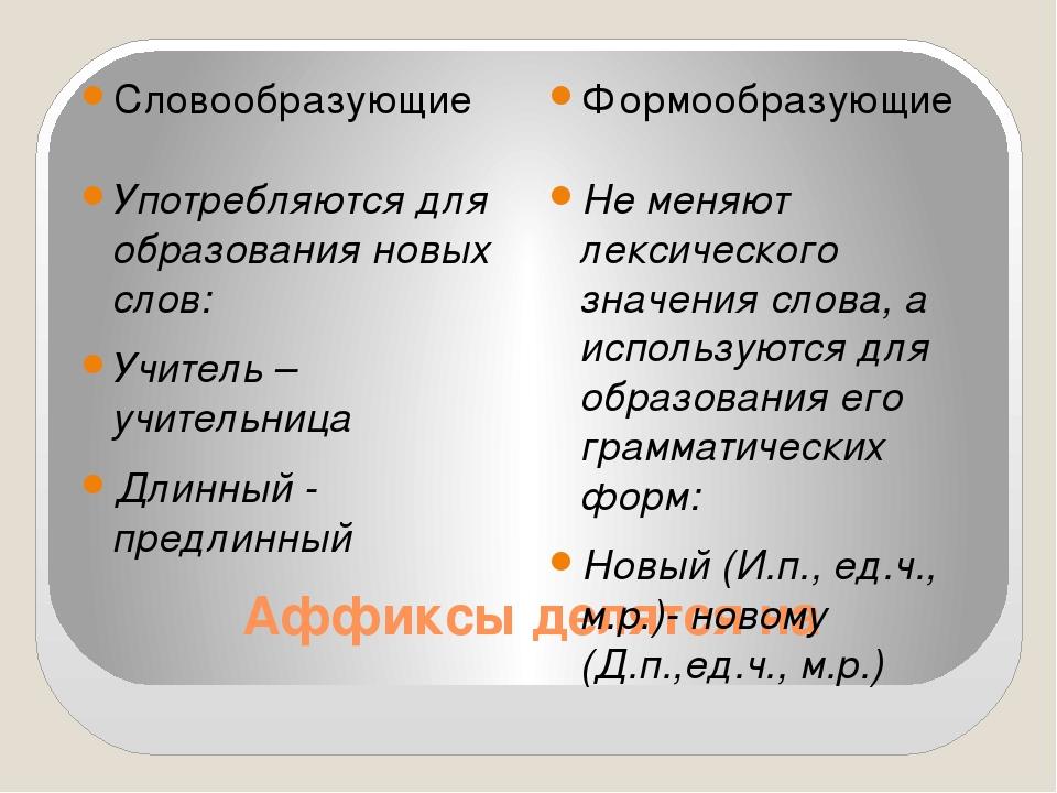 Аффиксы делятся на Словообразующие Формообразующие Употребляются для образова...
