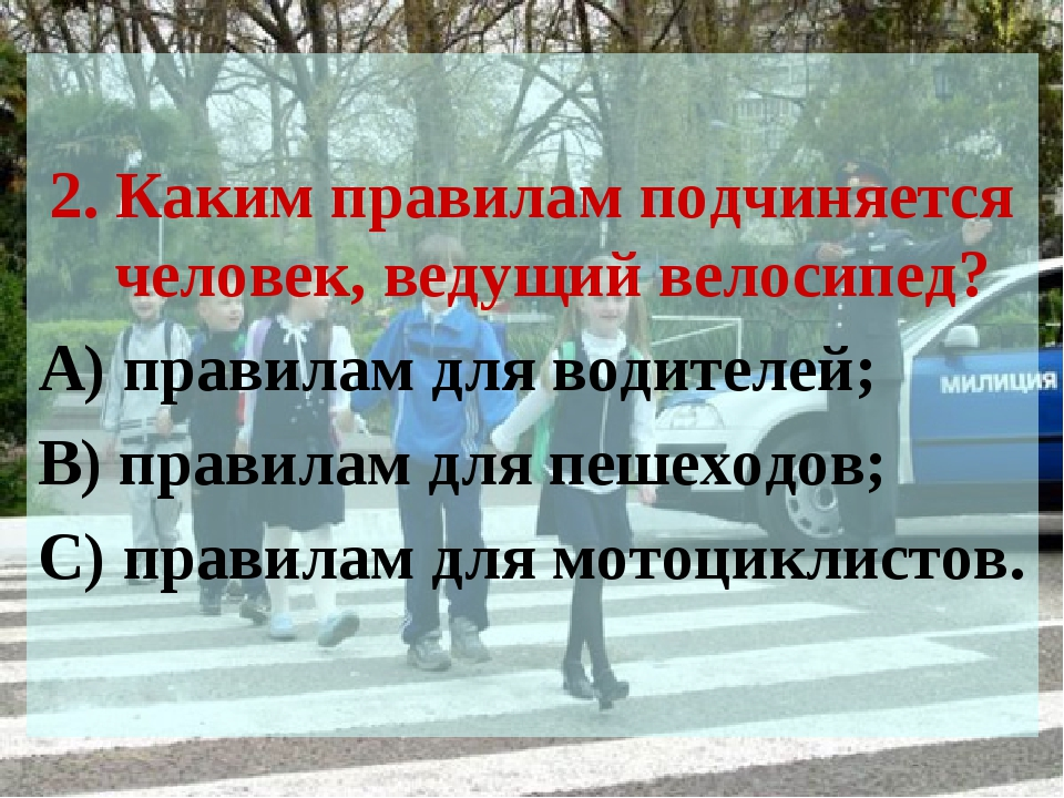 2. Каким правилам подчиняется человек, ведущий велосипед? А) правилам для во...