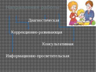 Направления работы: Диагностическая Коррекционно-развивающая Консультативная