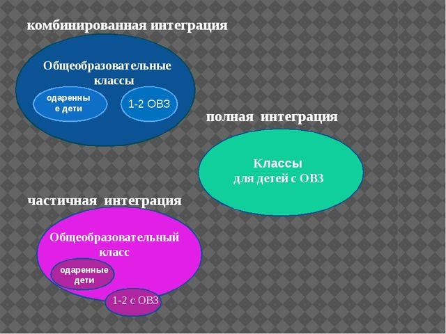 Общеобразовательные классы комбинированная интеграция одаренные дети 1-2 ОВЗ...