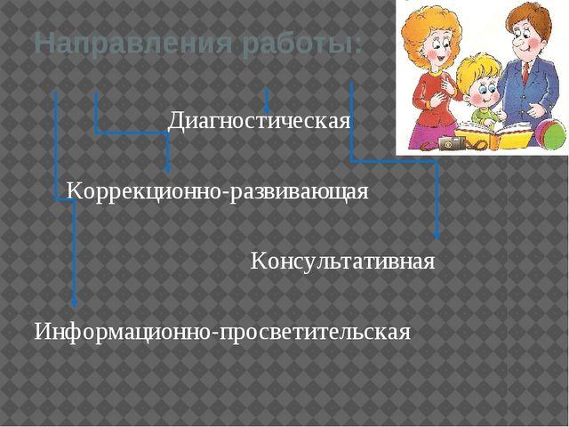 Направления работы: Диагностическая Коррекционно-развивающая Консультативная...