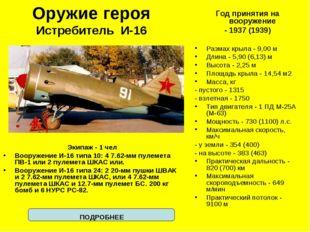 Оружие героя Истребитель И-16 Экипаж - 1 чел Вооружение И-16 типа 10: 4 7.62-
