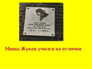 Миша Жуков учился на отлично