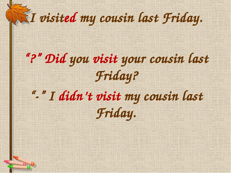 "I visited my cousin last Friday. ""?"" Did you visit your cousin last Friday? ""..."