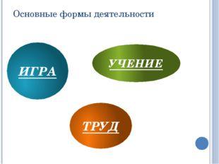 Основные формы деятельности ИГРА УЧЕНИЕ ТРУД