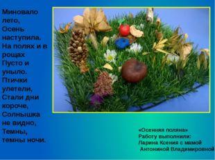 «Осенняя поляна» Работу выполнили: Ларина Ксения с мамой Антониной Владимиров