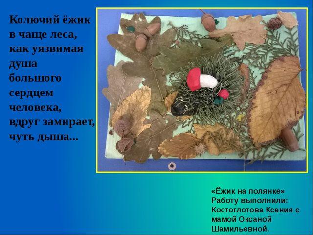 «Ёжик на полянке» Работу выполнили: Костоглотова Ксения с мамой Оксаной Шамил...