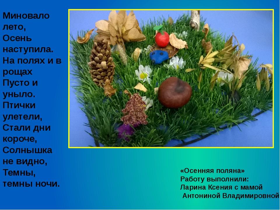 «Осенняя поляна» Работу выполнили: Ларина Ксения с мамой Антониной Владимиров...