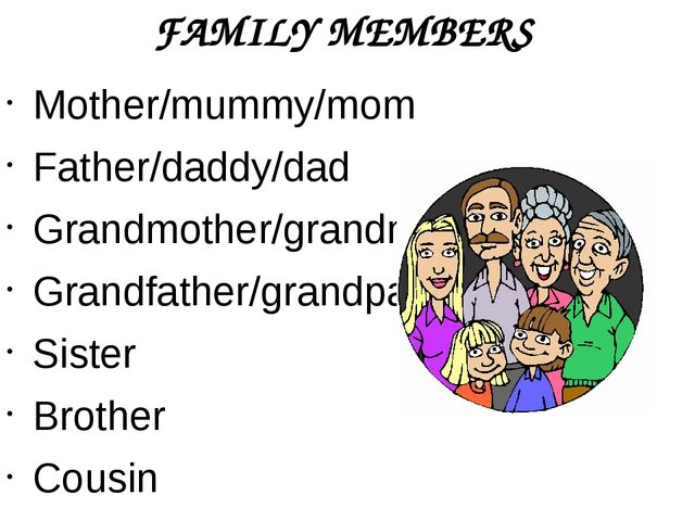 FAMILY MEMBERS Mother/mummy/mom Father/daddy/dad Grandmother/grandma Grandfat...