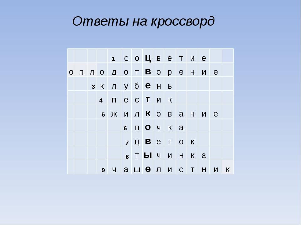 Ответы на кроссворд  1 с о ц в е т и е о п л о д о т в о р е н и е 3 к л у...