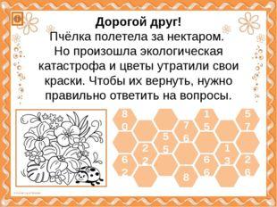 62 22 55 66 13 26 80 57 15 8 76 Дорогой друг! Пчёлка полетела за нектаром. Но