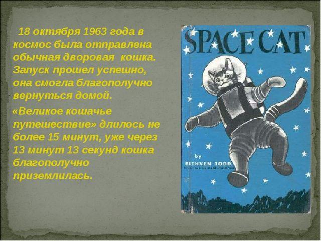 18 октября 1963 года в космос была отправлена обычная дворовая кошка. Запуск...