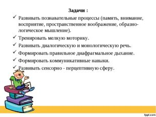 Задачи : Развивать познавательные процессы (память, внимание, восприятие, пр