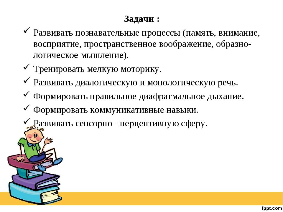 Задачи : Развивать познавательные процессы (память, внимание, восприятие, пр...