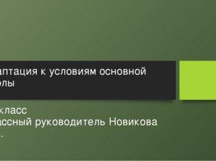 Адаптация к условиям основной школы 5В класс Классный руководитель Новикова И