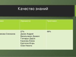 Качество знаний Отличники Хорошисты Троечники 4,5% ИгольниковаСнежанна 27% Да
