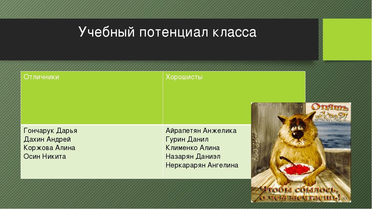 Учебный потенциал класса Отличники Хорошисты Гончарук Дарья ДахинАндрей Коржо...