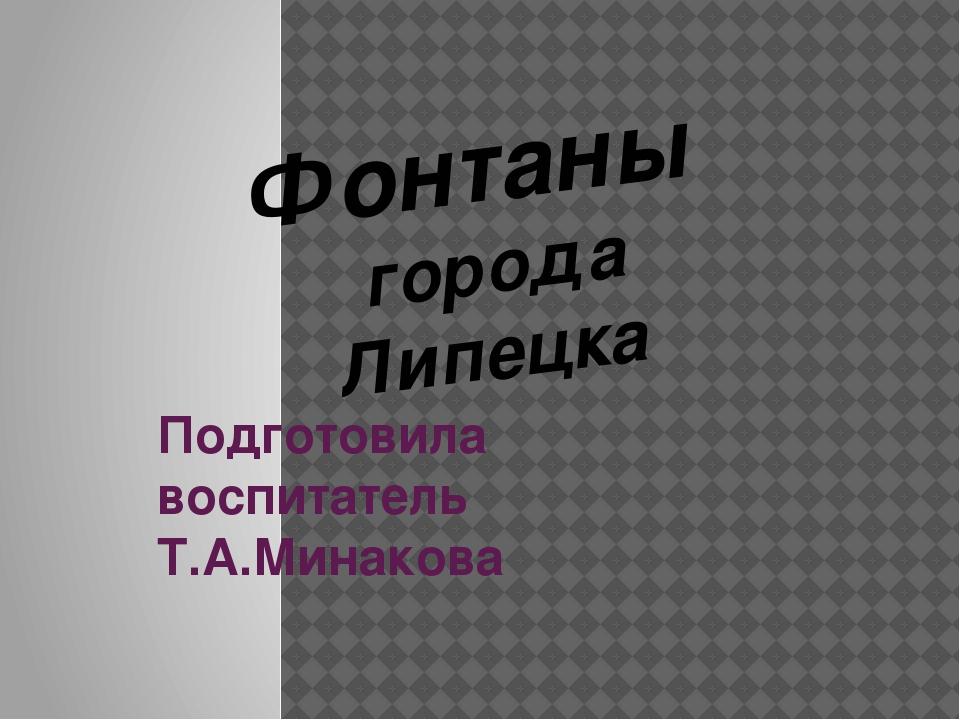 Подготовила воспитатель Т.А.Минакова Фонтаны города Липецка