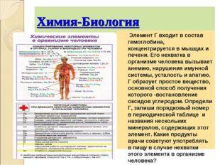 Химия-Биология Элемент Г входит в состав гемоглобина, концентрируется в мышца